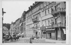 Hotel Klinger in Marienbad 1893 in Stephanstrasse .  Famous Spa in Czech Republic in late 19th century .